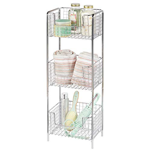 - mDesign 3 Tier Vertical Standing Bathroom Shelving Unit, Decorative Metal Storage Organizer Tower Rack with 3 Basket Bins to Hold and Organize Bath Towels, Hand Soap, Toiletries - Chrome