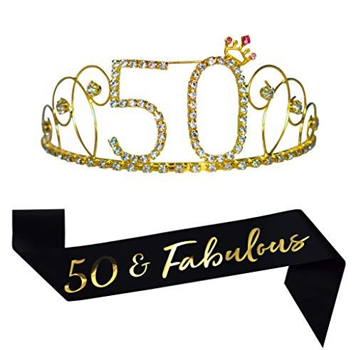 50th Birthday Gold Tiara and Sash, Happy 50th Birthday Decorations Party Supplies Favors, 50 & Fabulous Glitter Satin Sash and Crystal Tiara Birthday Crown for 50th Birthday Party Birthday Cake Topper]()