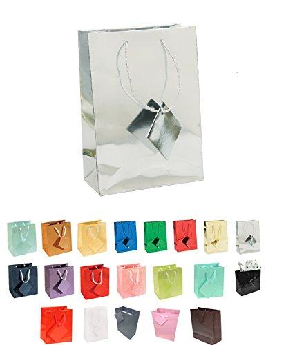 888 Display USA® Euro Tote Paper Gift Bag Bundles Silver Metallic (10 -