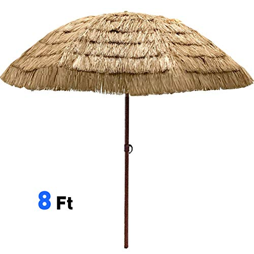 EasyGo - 8' Thatch Patio Tiki Umbrella - Tropical Palapa Raffia Tiki Hut Hawaiian Hula Beach Umbrella (Tropical Hut)