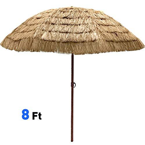 - EasyGo - 8' Thatch Patio Tiki Umbrella - Tropical Palapa Raffia Tiki Hut Hawaiian Hula Beach Umbrella
