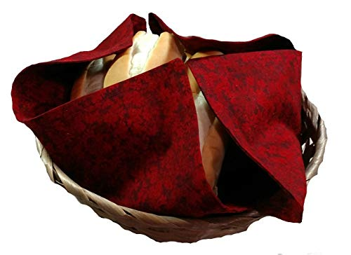 Handmade Basket Liner and Warmer for Breads and Rolls in Deep Burgundy Red Fabric