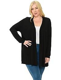 Women's Long Sleeve Jersey Plus Size Cardigan