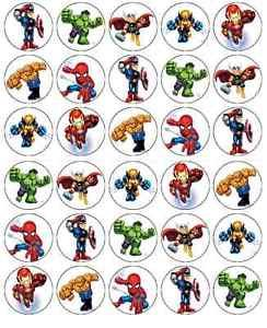 30 x Edible Cupcake Toppers - Marvels Superhero Squad Themed Collection of Edible Cake Decorations | Uncut Edible Prints on Wafer Sheet -