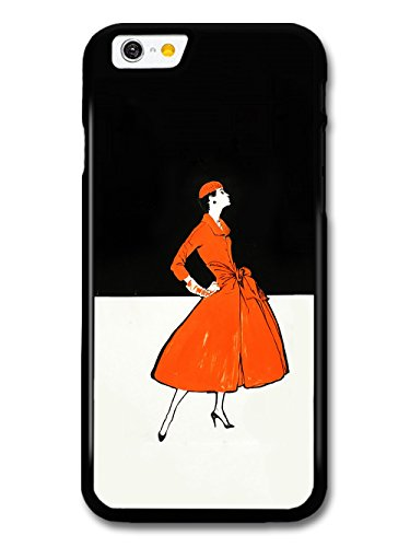 Art Deco Fashion Woman in Orange Dress Black and White Background coque pour iPhone 6 6S
