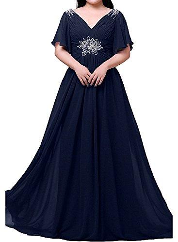 Lang Navy Blau Blau Abendkleider Promkleider Ballkleider Anmutig Uebergroesse Royal Ausschnitt V Damen Partykleider Charmant HwFB66