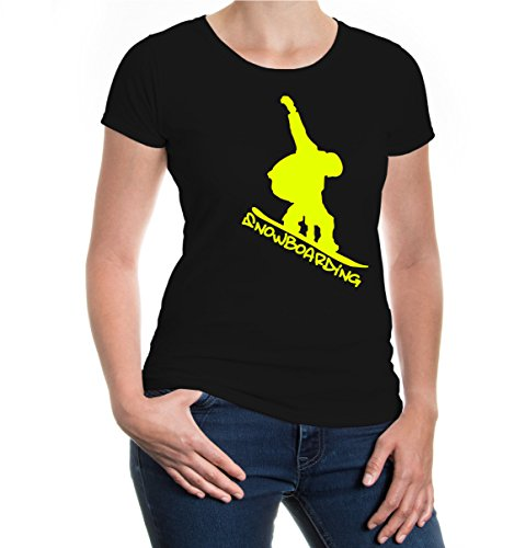 Girlie T-Shirt Snowboarding-S-Black-Neonyellow