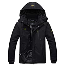 Wantdo Mens Mountain Waterproof Fleece Ski Jacket Windproof Rain Jacket