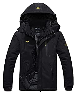 Wantdo Men's Waterproof Mountain Jacket Fleece Windproof Ski Jacket US L  Black L