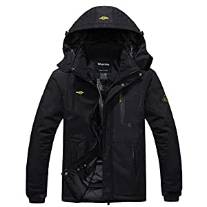 Wantdo Men's Winter Waterproof Hooded Fleece Ski Jacket Windproof Rain Parka