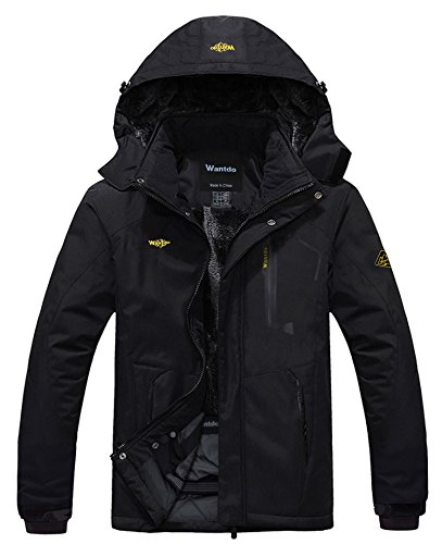 (Wantdo Men's Waterproof Mountain Jacket Fleece Windproof Ski Jacket US L  Black L)