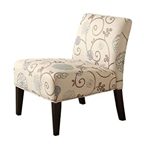 Exceptional Homelegance 468F25S Lifestyle Armless Lounge Chair, Floral Fabric