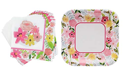 Spring Fling Sentiments Floral Bee Party Paper Bundle Set - 18 Luncheon Napkins + 12 Luncheon Plates