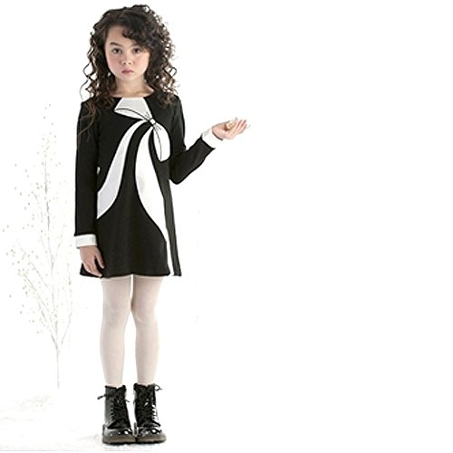 Bow Front Sheath Dress (Biscotti Toddler Girls Perfection Long Sleeve Dress With Bow, Black/Ivory, 2T)