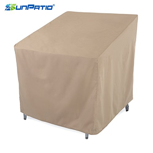 Outdoor Furniture Club (SunPatio Outdoor Club Chair Cover, Lightweight, Water Resistant, Eco-Friendly, Helpful Air Vents, All Weather Protection, Beige, 33.5