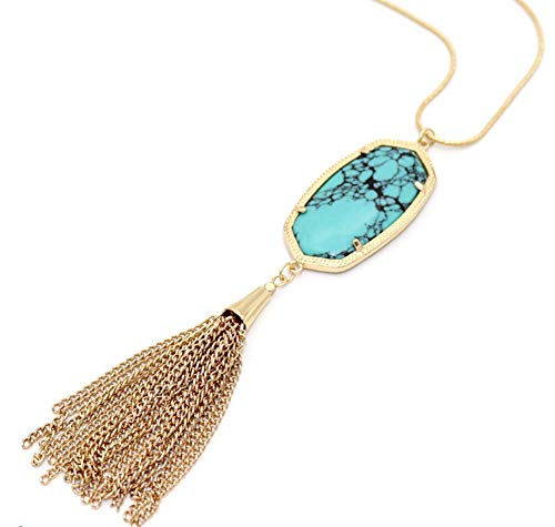 stylesilove Women Gold Plated Frame Vintage Turquoise Oval Stone Pendant with Tassel Long Chain Necklace