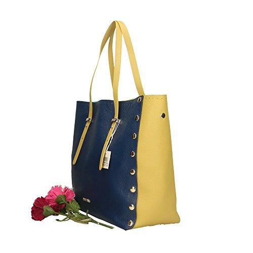 véritable femme Citron cuir POP Made Bags main Cm Bleu Sac à en Impression Dollar 34x31x15 Citron Italy in wIT0Iq