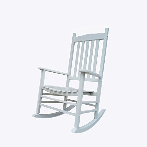 Rocking Rocker - A001WT White Porch Rocker / Rocking Chair - Easy To Assemble - Comfortable Size - Outdoor or Indoor Use