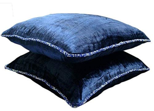 (Blue Pillow Covers Decorative 18x18 inches, Navy Blue Throw Pillows Cover for Couch, Solid Color Beaded Cord Decorative Pillows Cover, Velvet Pillow Covers, Solid Contemporary - Navy Shimmer)