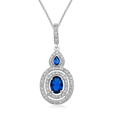 Jewelili Sterling Silver Created Ceylon Sapphire Oval With Created White Sapphire Pendant Necklace, (Oval Ceylon Sapphire)