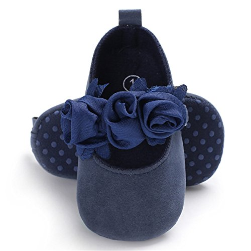 BENHERO Baby Infant Girls Soft Sole Floral Princess Mary Jane Shoes Prewalker Wedding Dress Shoes (13cm(12-18 Months), Navy)