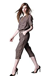 Yatim Womens Summer Leisure Casual Slim Fitted Suit Pant Sets (Gray-L)