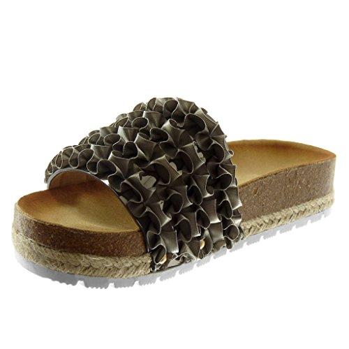 Angkorly Damen Schuhe Sandalen Mule - Slip-On - Plateauschuhe - mit Rüschen - Seil - Kork Keilabsatz High Heel 3.5 cm Grau