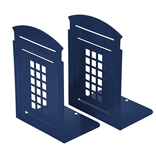 Bookends Blue, MerryNine 1 Pair Heavy Metal Non Skid Sturdy Telephone Booth Decorative Gift for Bookshelf Office School Library