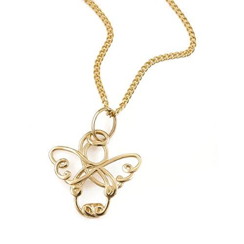 Bijoux Pendentif ange Protection 585/or 14carats + Set de chaîne gourmette neuf (11135/45+ 626001251)