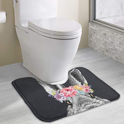 Dealbert Rabbit Guinea Pig Bunny Garlan Queen Flower Bath Rugs,U-Shaped Bath Mats,Soft Foam Bathroom Carpet,Nonslip Toilet Floor Mat 19.2″x15.7″