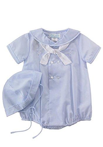 Petit Ami Infant Boys Blue Sailor Bubble Suit Outfit & Hat Set NB