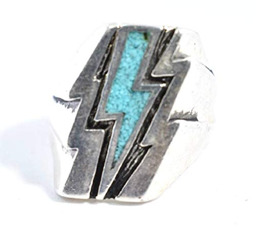 Nemesis Jewelry NYC Vintage Southwestern Blue Inlay Lightning Bolt Men's Ring from Nemesis Jewelry NYC
