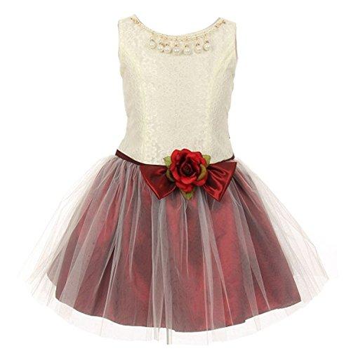 KiKi Kids USA Big Girls Burgundy Lace Taffeta Pearl Stone Accent Flower Girl Dress 12 from Kiki Kids