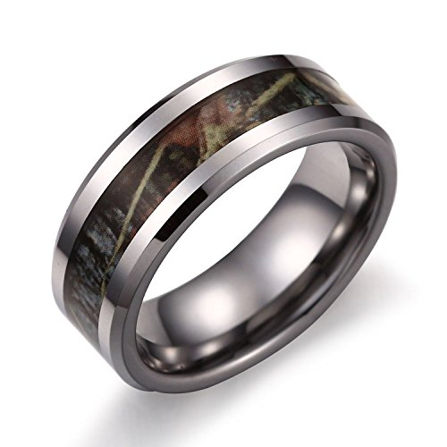 EOVE Jewelry 8mm Camouflage Hunting Silver Mens Tungsten Ring Camo Step Edge Polished Wedding Band Trees Leaves