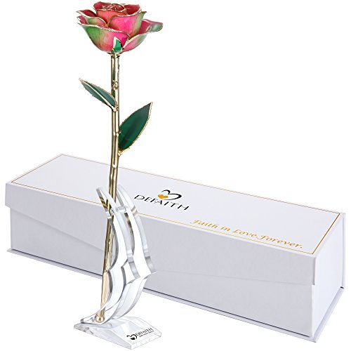 DEFAITH Rainbow 24K Gold Rose, Unique Anniversary Gifts for Mother Wife Girlfriend Her Women, Made from Real Rose Flower with Stand