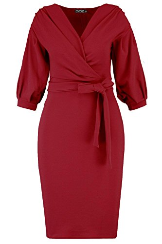 Boohoo Womens Plus Size Taylor Off The Shoulder Wrap Midi Dress In Plum Size - 20 Boohoo Off