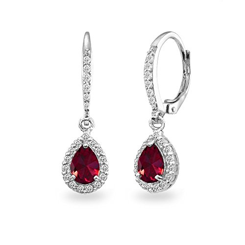 Sterling Silver Created Ruby Teardrop Dangle Halo Leverback Earrings with White Topaz Accents