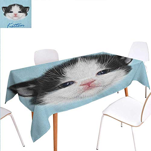 Warm Family Cartoon Customized Tablecloth Portrait of Domestic Kitten Newborn Bicolor Furry Head Pink Wet Nose Artwork Stain Res