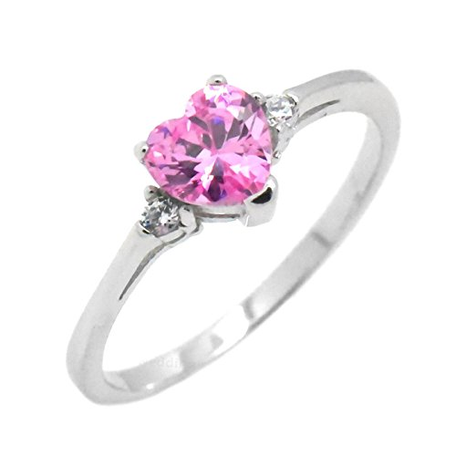 Cute Heart Simulated Birthstone Cubic Zirconia Sterling Silver Girls Womens Ring Size 3 - Pink