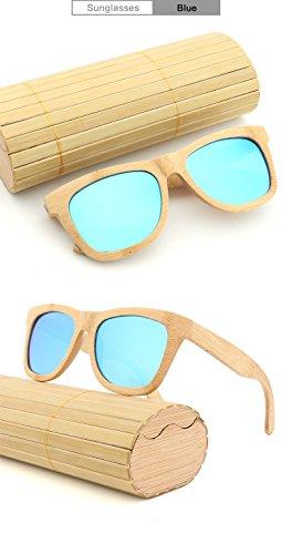 Hommes à de Produit en Lunettes Cadeaux de qualité de Lunettes Soleil Blue en rétro pour comme Main polarisées Bois Haute Bambou Amis Soleil la Ruiyue Femmes xwI5UOqFwd