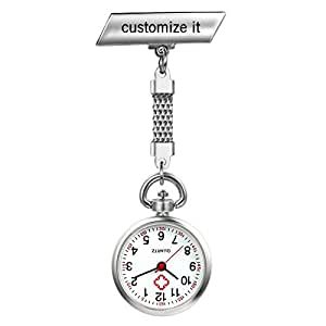 Girls Nurses Watch Simple Classic Unisex Doctor Tunic Lapel Pin-on Brooch Quartz Fob Pocket Watch Large Arabic Numeral Mark With Metal Link