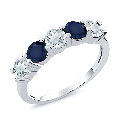 Sky Blue Aquamarine and Blue Sapphire 925 Sterling Silver Wedding Band Ring 1.14 Ct (Size 7) by Gem Stone King