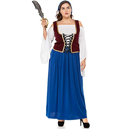 German Beer Festival Big Size Adult Woman Dress Traditional Beer Dress Halloween Party Pirate -