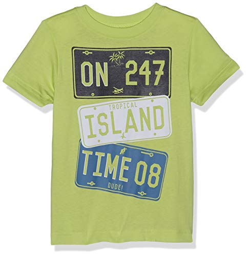 (Crazy 8 Boys' Big' Short Sleeve Crewneck Graphic Tee, Lime Island License Plate, XL)