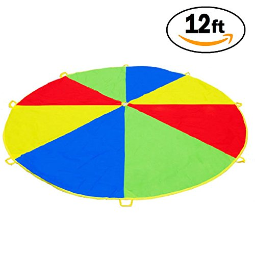 12 Foot Play Parachute for Kids 8 Handles with Storage Bag & Fun Game Guide Gymnastics Team Building Activity and Group Toy