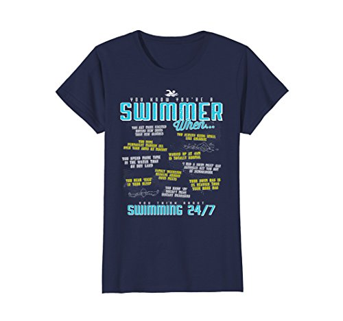 (Womens You Know You're A Swimmer When Funny Swim T Shirt Medium Navy)