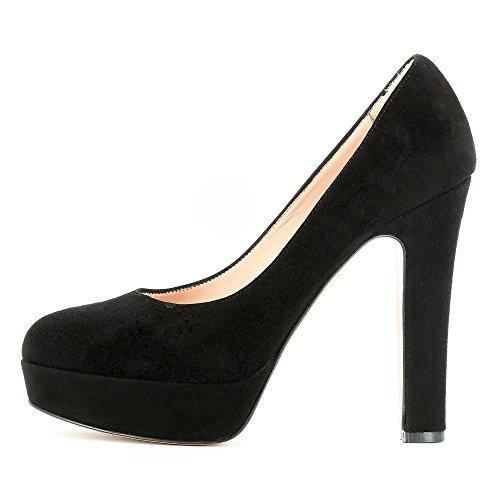 Evita Shoes Riccarda Damen Pumps Rauleder Schwarz