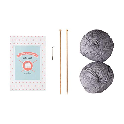 Learn to Knit Club: The Hat - Beginner Knitting Kit (Silver) (Beanie Starter)