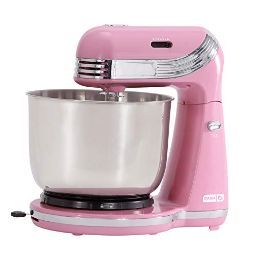 Dash Stand Mixer (Electric Mixer for Everyday Use): 6 Speed Stand Mixer with 3 qt Stainless Steel Mixing Bowl, Dough Hooks & Mixer Beaters for Dressings, Frosting, Meringues & More - Pink -