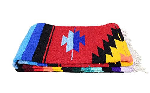 Open Road Goods Mexican Yoga Blanket, Navajo Aztec Diamond XL Thick Serape with Stripes-Red